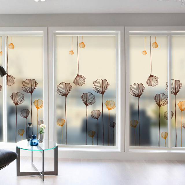 Lotus Window Stickers Glass Stickers Frosted Glass Film Sliding Door  Balcony Translucent Opaque Bathroom Self
