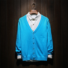 Candy Color Knitted Cardigan Sweater Plus Size 6XL Brand Clothing Sueter Hombre Wool Sweater Men Sueter Masculino Marca Famosa
