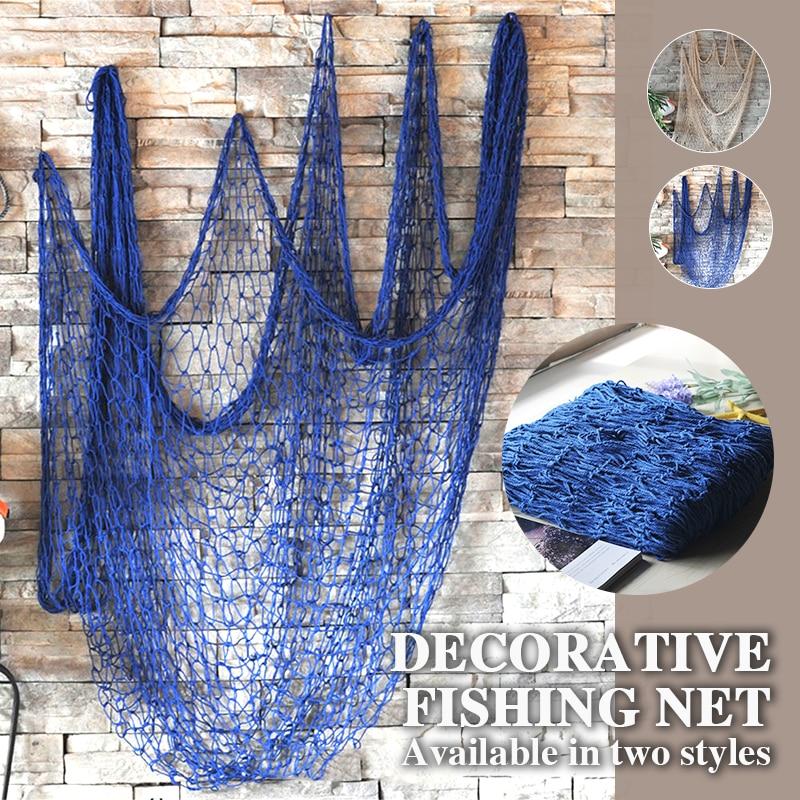 1*2M Ceative Hanging Net Mediterranean Hemp Rope Decor Nets Decorative Fishing Net Wall Decoration Nautical Ocean Theme