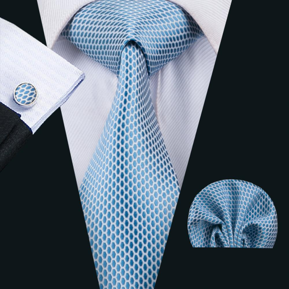 FA-1535 2018 New Arrive Fashion Ties For Men Blue Novelty Jacquard Woven Necktie Hanky Cufflinks For Wedding Party Freeshipping