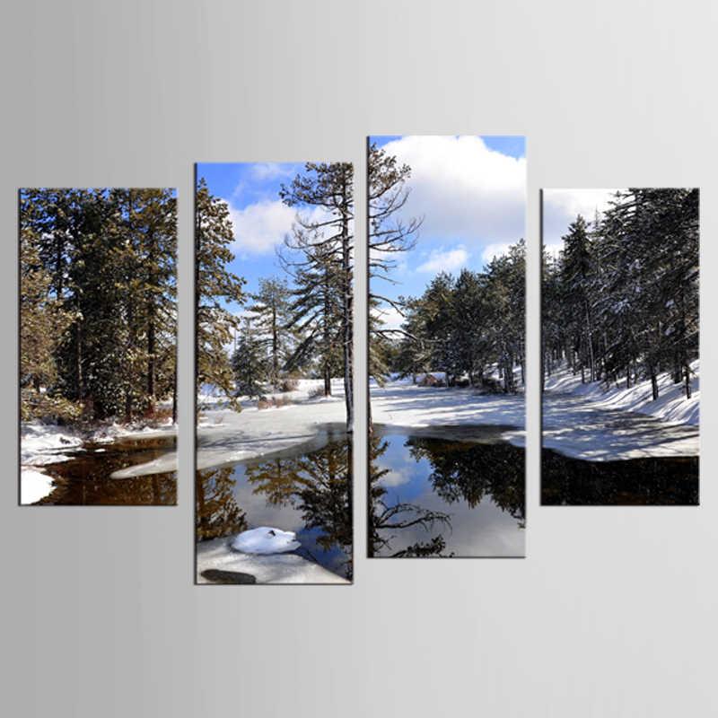 4 sätze von outdoor wald schnee szene landschaft wandbilder kunst home decoration wohnzimmer leinwand druck moderne malerei XL-FJ346-1