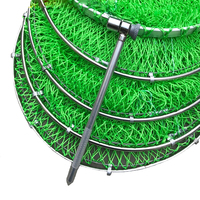 Lawaia Landing Net Fish Net Cage Green Hand Net Braided Wire Fishing Tools and Equipment Foldable Drying Rack Fishing Small Mesh