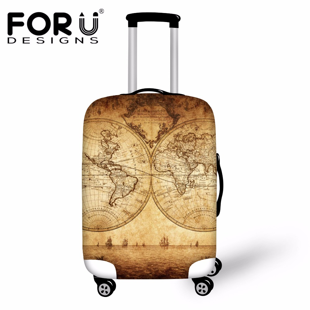 FORUDESIGNS Retro Map Print Travel Luggage Protective Cover Waterproof Travel Accessories For 18-30inch Suitcase Case Rain Cover
