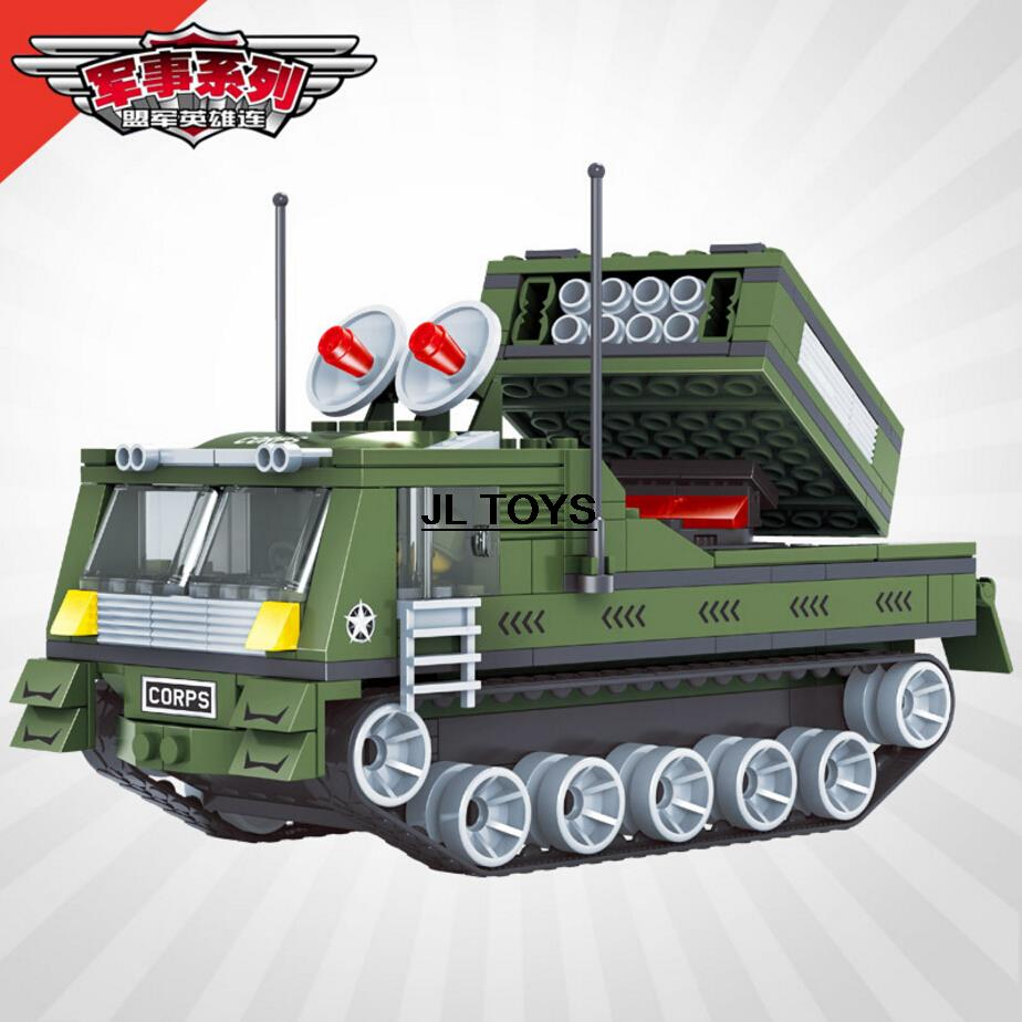 Bulk model rockets wholesale - Military War Rocket Gun Truck Air Defense Missile Armored Car Building Block Army Corps Soldier Mini