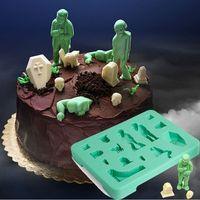 Halloween zombie creative chocolate mould cake ice lattice mold zombie coffin tomb skeleton mold silicone cat Halloween mold