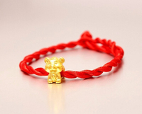 Fashion Arrival 3D 999 24K Yellow Gold 12 Chinese Zodiac Cute Tiger Knitted Bracelet