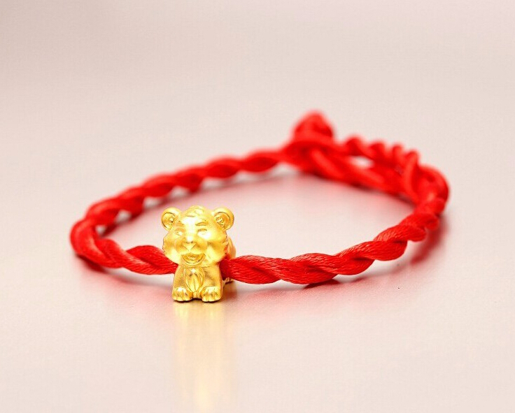 Fashion Arrival 3D 999 24K Yellow Gold 12 Chinese Zodiac Cute Tiger knitted Bracelet цена