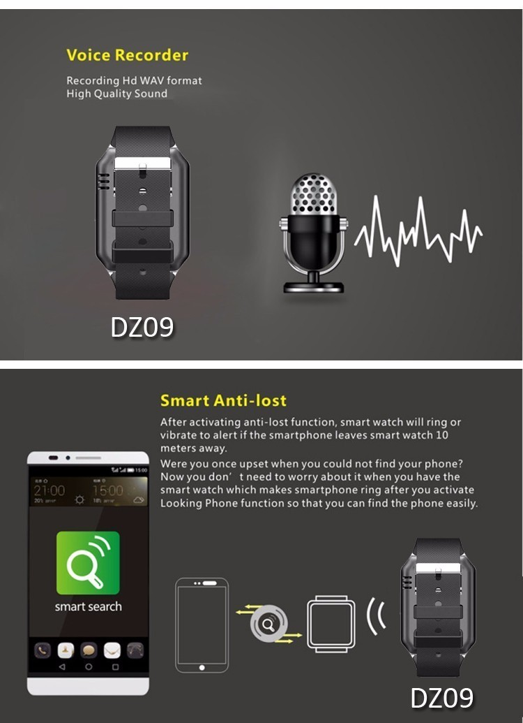 SmartWatch Bluetooth Montre Smart Watch DZ09 Pour Apple/Samsung/Android/IOS Pouvant Prendre Sim