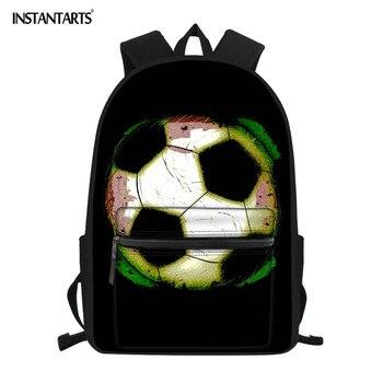 INSTANTARTS Soyut futbol topu Boyama Erkek Okul Sırt Çantaları 3D Marka Tasarımcısı Büyük omuz çantaları Öğrenciler için Okul Çantalarını Sırt Çantası