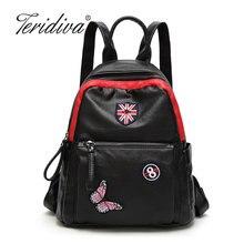 Teridiva Брендовые женские рюкзак печать рюкзак женщины школьные сумки для подростков женские рюкзаки 2017 Женская сумка с бантом и вышивкой