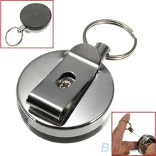 Retractable Metal Card Badge Holder Steel Recoil Ring Belt Clip Pull Key Chain  1OUQ