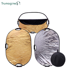 TRUMAGINE 60x90CM 2 IN 1 Portable Collapsible Light Oval Reflector For Photography Studio With Handle Bar Free Ship