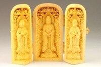 MANUAL SCULPTURE DELICATE BOXWOOD BUDDHA STATUE BOX metal handicraft