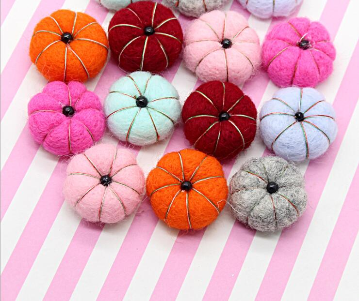 Kewgarden Christmas Wool Felt Cartoon Pumpkin Handmade DIY Hairband Bowknot Accessories DIY Apparel Sewing  3CM 10pcs/lot