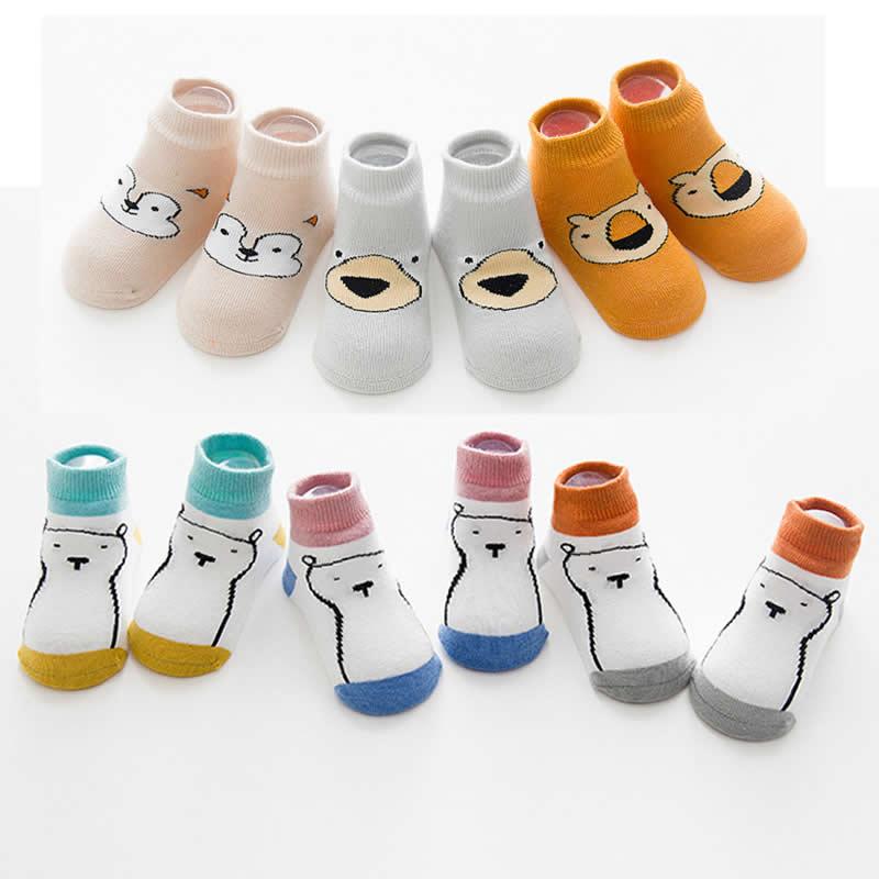 Baby Socks Three Dimensional Cartoon Animal Print Hat Bear Cotton Non slip Bone Girls Socks antiskid Boys Socks cute 3Pair/lot
