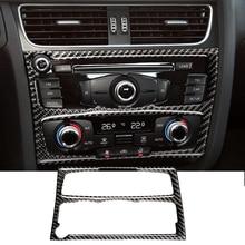 Carbon Fiber Sticker decorative Interior Control CD Panel Cover Trim Air Condition Stickers for Audi A4 B8 A5 09-14