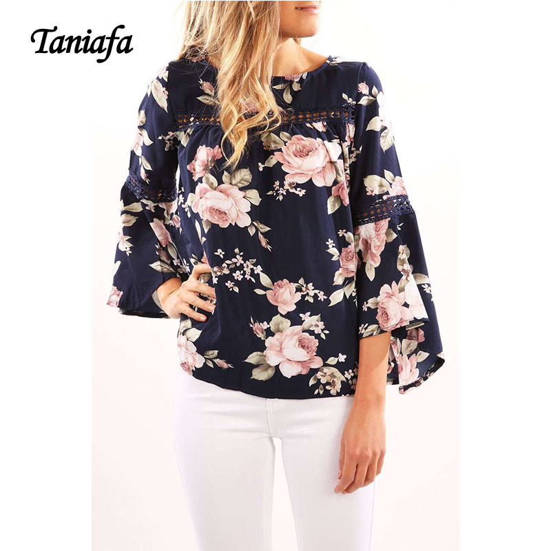 Women Chiffon Blouse of Trumpet Printed 2018 Fashion Flare Sleeve Feminial Blaus Sweet Casual Loose Spring Women Tops