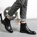 Moda de nova Mens Divisão Suave Homem Ankle Boots Estilo Britânico Sapatos Botas de Couro Chelsea SMYLMX-F0047