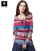 Fashion Vintage Stripe Hit Color Long Sleeve T Shirt Womoen Sexy V neck Drawstring design Women Tees Autumn T Shirt Ladies Tops