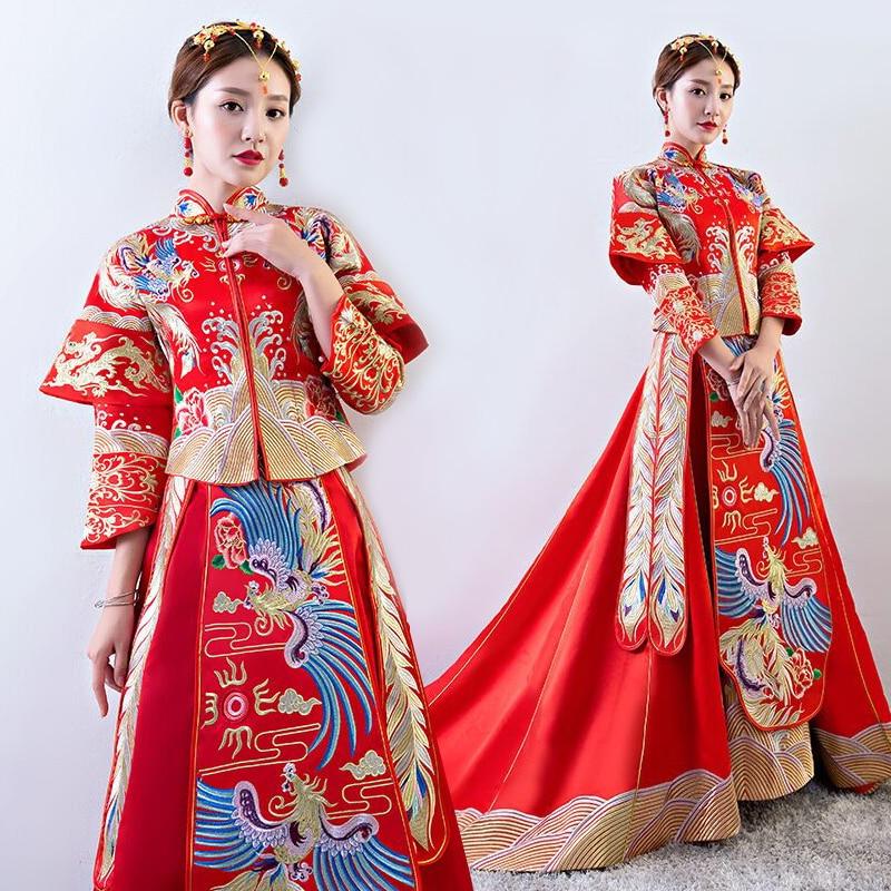 Свадьба cheongsam Традиционный китайский платье невесты древних брак костюм платье Одежда Женская Вышивка Феникс красный Qipao
