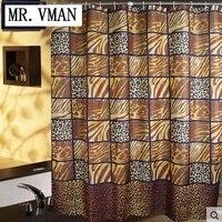 Fashion Leopard Print At Home Waterproof Terylene Cloth Shower Curtain Set Bathroom Partition