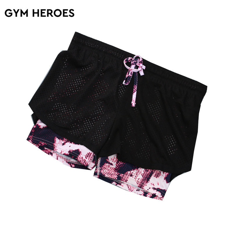 Summer Mesh Sports shorts female fake two pieces anti-go-fit shorts quick-drying breathable elastic yoga Running Fitness