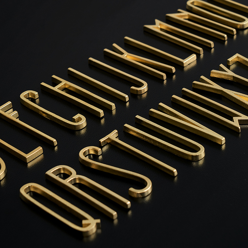 Brass Decoration English Alphabet Wall Sticking Creative Pure Copper Ornaments Cement Floor Inlay Home Decoration Letters Walls