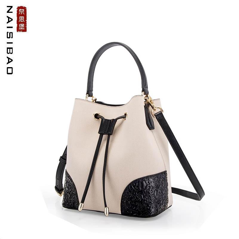 2019 New women genuine Leather bag fashion women shoulder crossbody bag for women leather With canvas Drawstring bucket bag