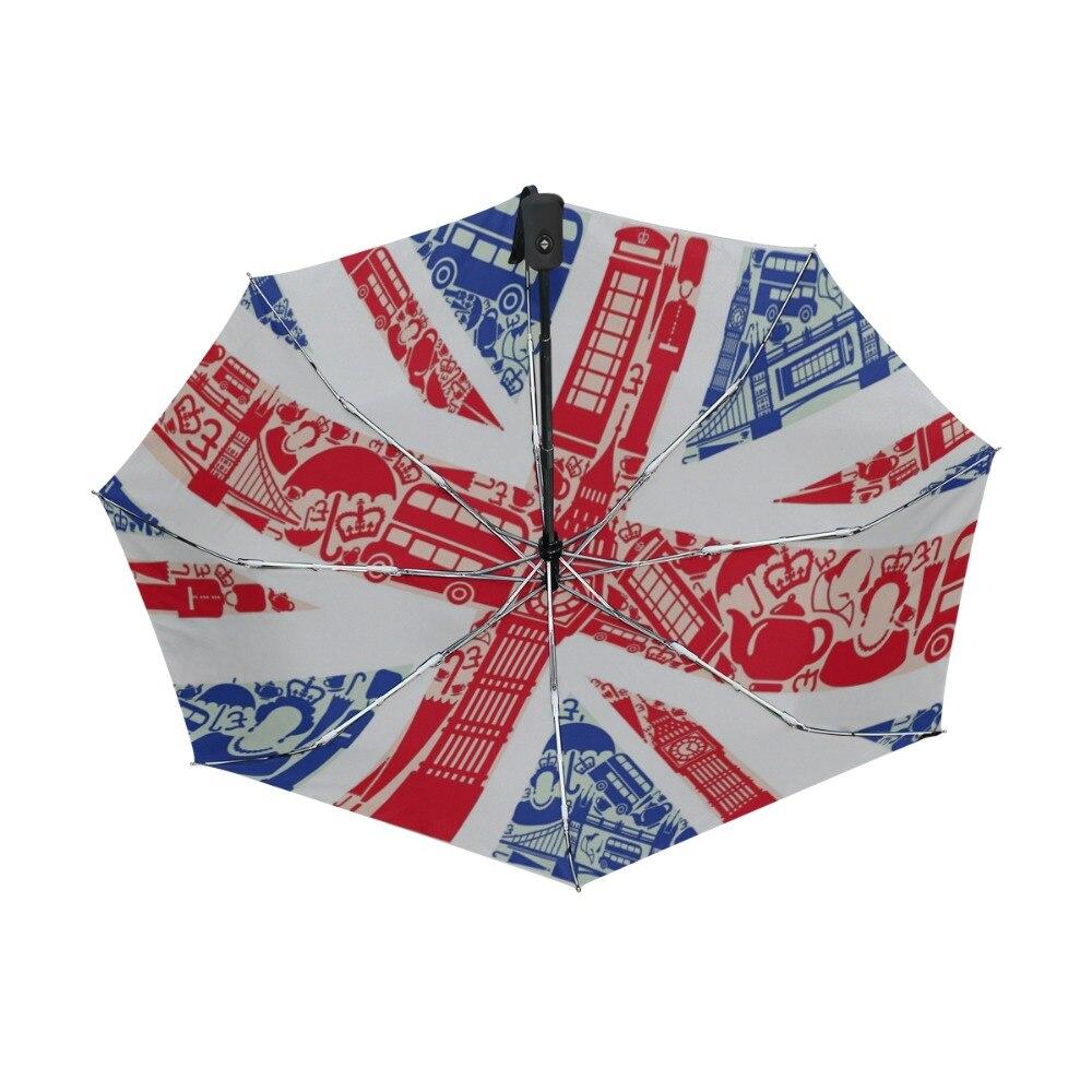 foldable Umbrella Custom US UK Flag Compact Travel Windproof Rainproof
