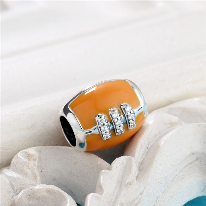 American Football Mit CLEAR ZIRCONIA Charm Beads Fit Original - Modeschmuck - Foto 2
