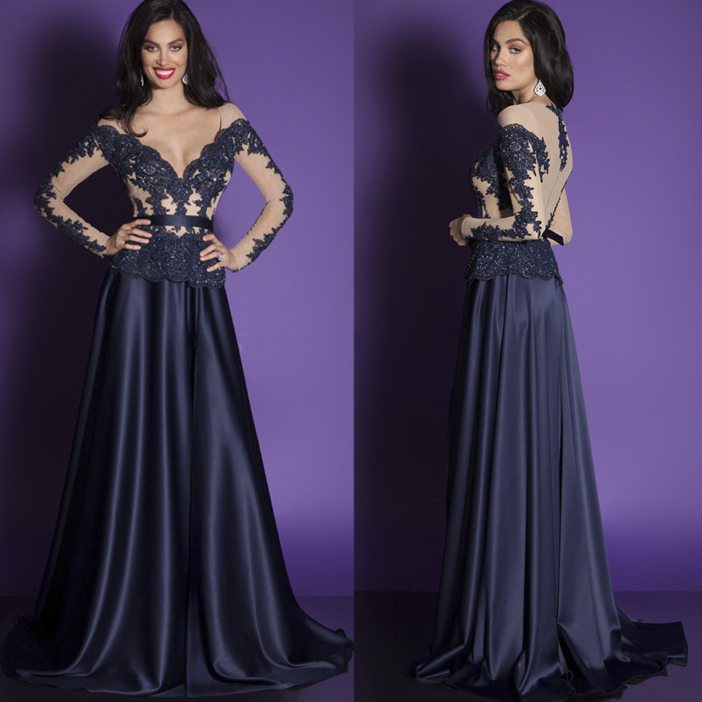 elegant navy blue long evening dress 2016 v neck long sleeve ...