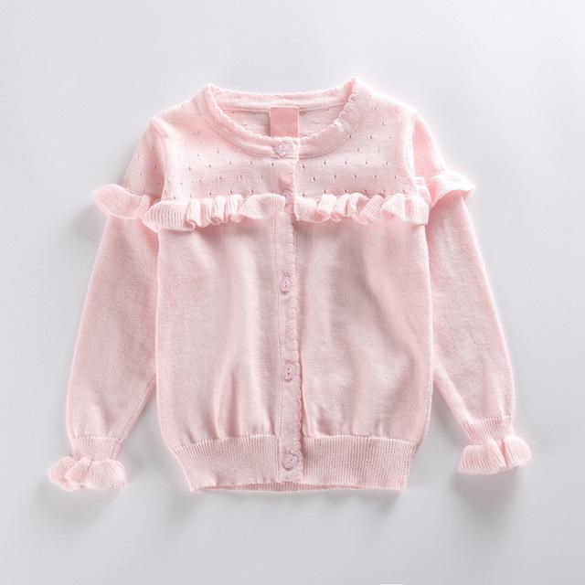 Los niños de la rebeca de niña volantes ahuecan hacia fuera el suéter otoño niña blanca de manga larga de flores botón cardigan rosa