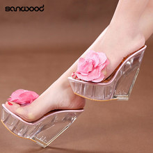 e9d1d65dee Hot New Women's Open Toes Sandals Clear Wedges High Heels Shoes Flower  Slippers Pumps(China