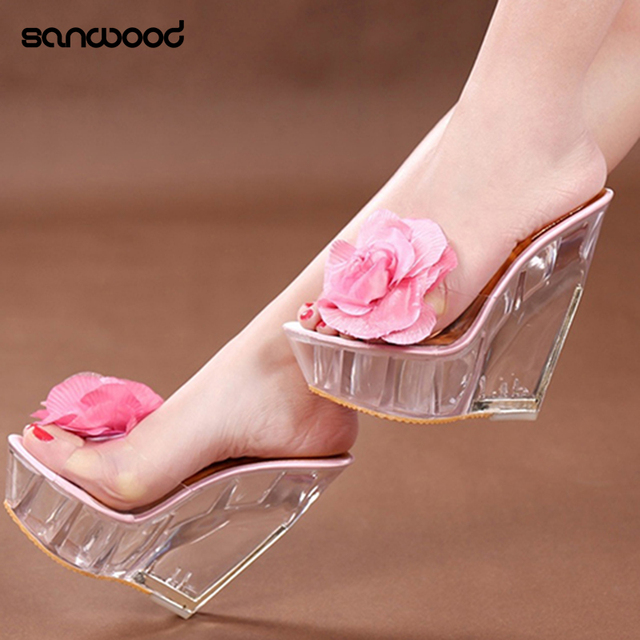 3ff9b63f555 Hot New Women s Open Toes Sandals Clear Wedges High Heels Shoes Flower  Slippers Pumps