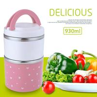 930ML Stainless Steel Portable Cute Mini Japanese Bento Box Leak Proof Thermal Lunch Boxs Kids Picnic