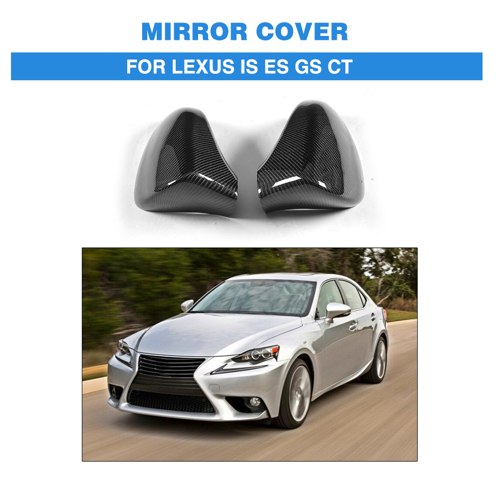 Carbon Fiber Rear View Mirror Covers Car Sticker For <font><b>Lexus</b></font> IS <font><b>F</b></font> ES <font><b>GS</b></font> CT 200 300 <font><b>350</b></font> <font><b>Sport</b></font> 2013-2017 LHD Add On Style image