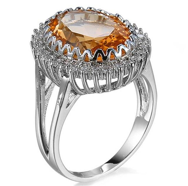 d1e77d7b7252 Cristal grande Anillos para las mujeres de compromiso de bodas cóctel moda  oro anillos cristal austriaco