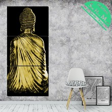 3 Piece Back View of Gold Buddha Canvas  Decorative Picture Wall Poster Modern Pictures for Living Room Posters and Prints