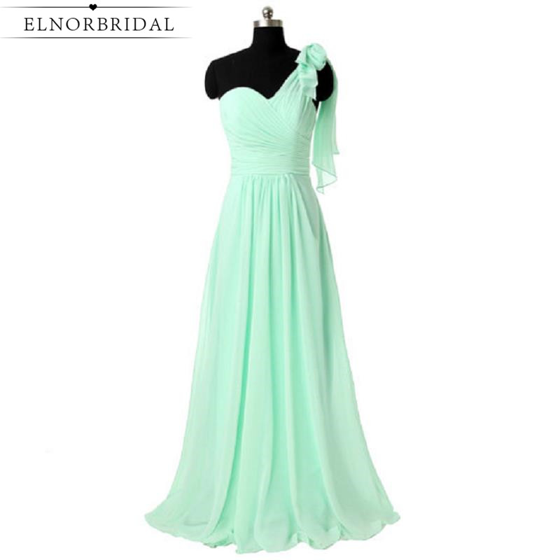 One Shoulder   Bridesmaid     Dresses   Long 2019 Cheap Mint Green Maid Of Honor   Dress   Real Photos Vestido Madrinha Longo For Weddings