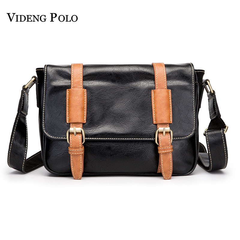 VIDENG POLO Brand Leather Mens Crossbody Shoulder Bag Business Men Messenger Bag Sling Black Mens Crossbody Bags For ipad