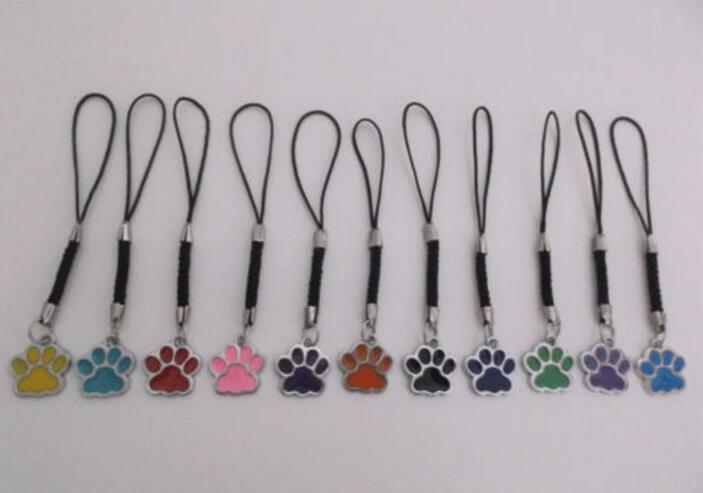 ᗕPerro del gato del esmalte/oso pata huellas giratoria Amuletos ...