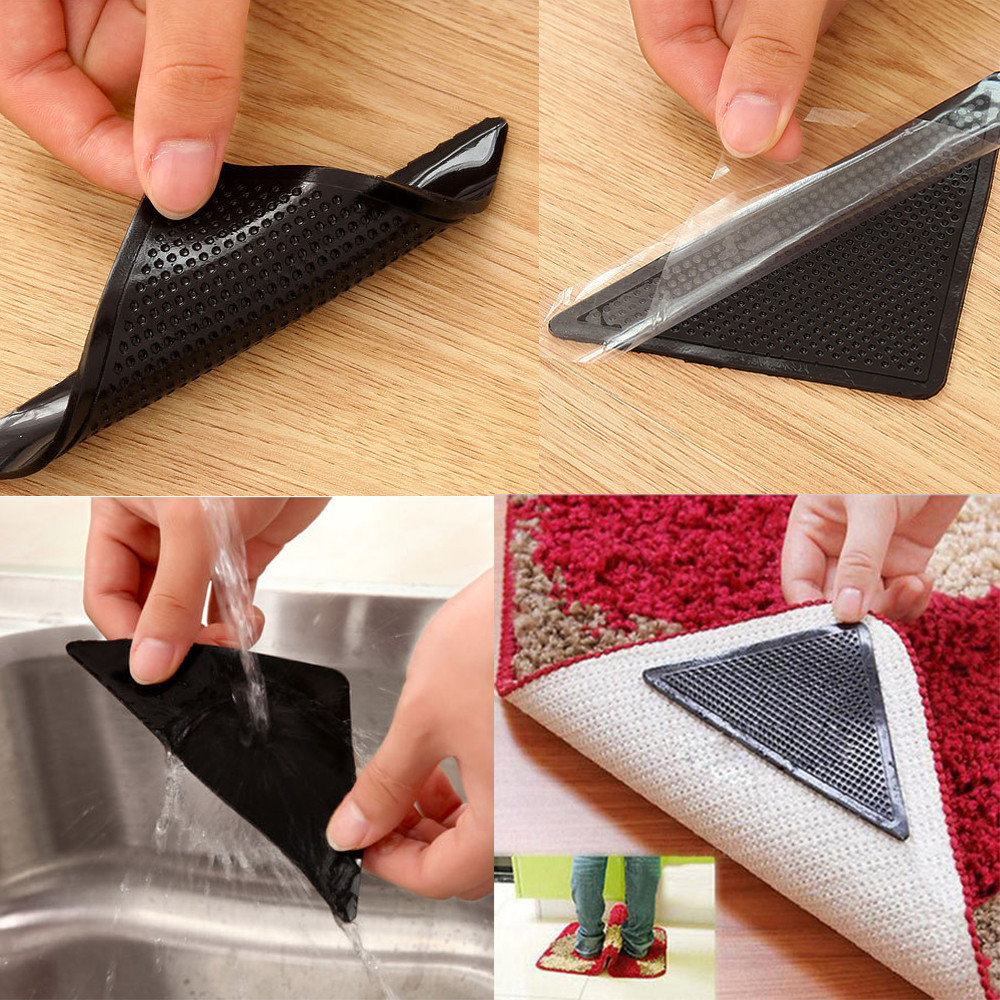 4 X Carpet Pad Non Slip Tri Sticker Anti Slip Mat Pads Anti Slip