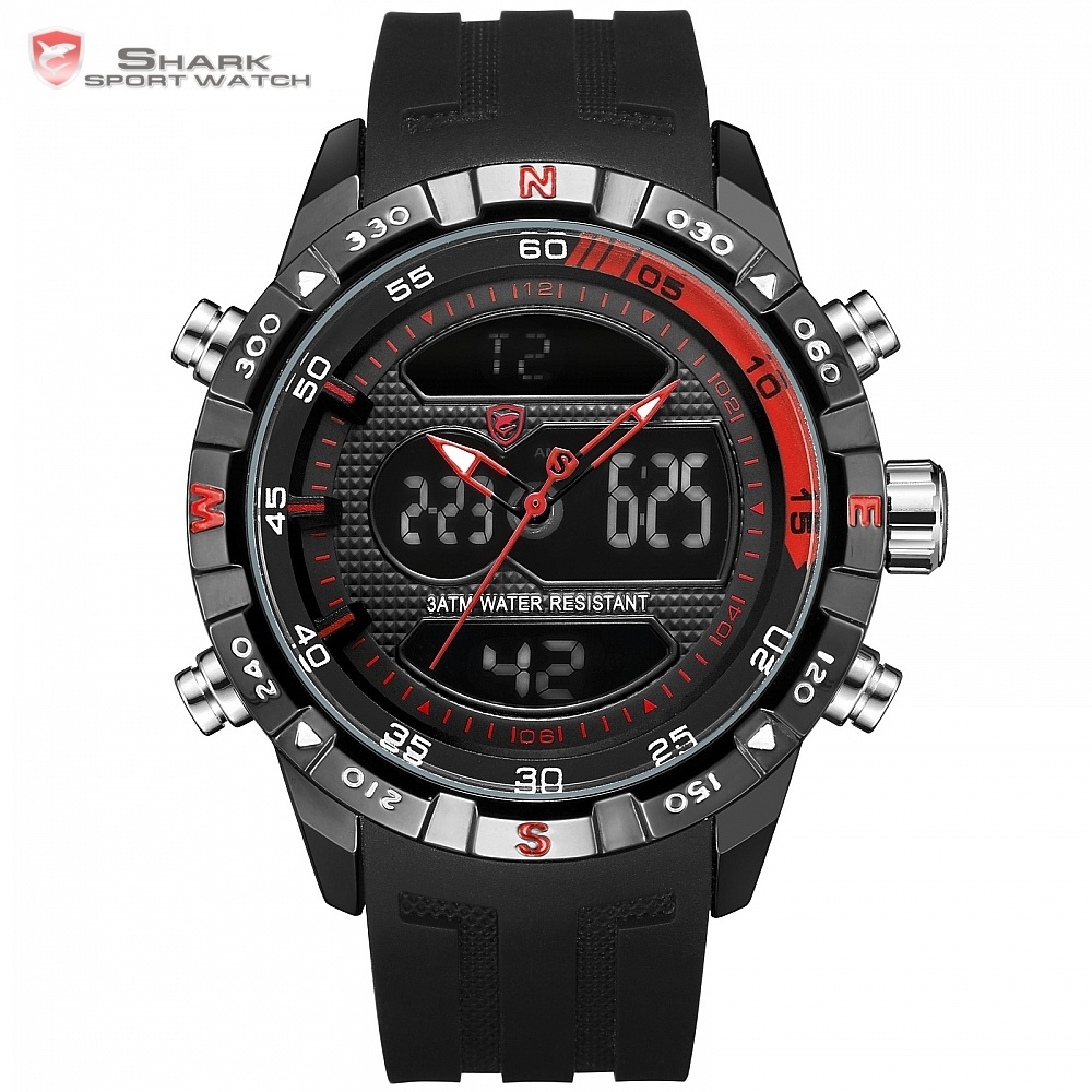 Dual Display Sport Chronograph Digital LCD Auto Date Alarm Silicone Strap Wristwatches  / SH598