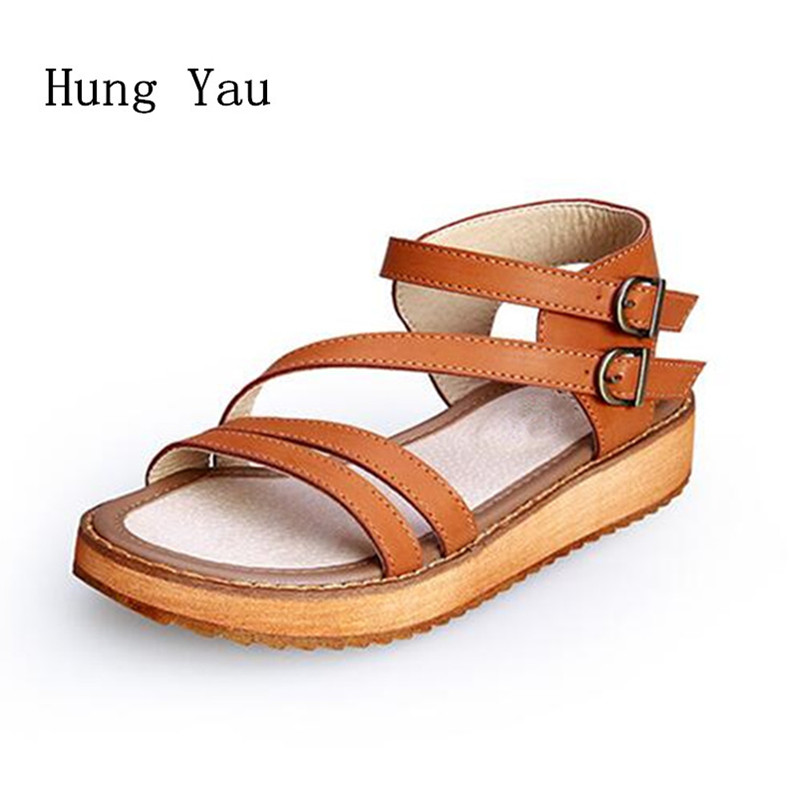 Woman Sandals Shoes 2018 Summer Style Wedges Flat Sandals Women Fashion Slippers Rome Platform Genuine Leather Plus Size rome style women sandals 2018 new arrivals fashion summer platform shoes fresh wedges sandals women shoes sapato feminino