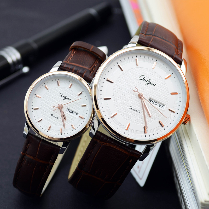 Onlyou Brand Lovers Watch Women Men Quartz Genuine Leather Wrist Watches Fashion Business Female Male Clock With Calendar 81092 genuine curren brand design leather military men cool fashion clock sport male gift wrist quartz business water resistant watch