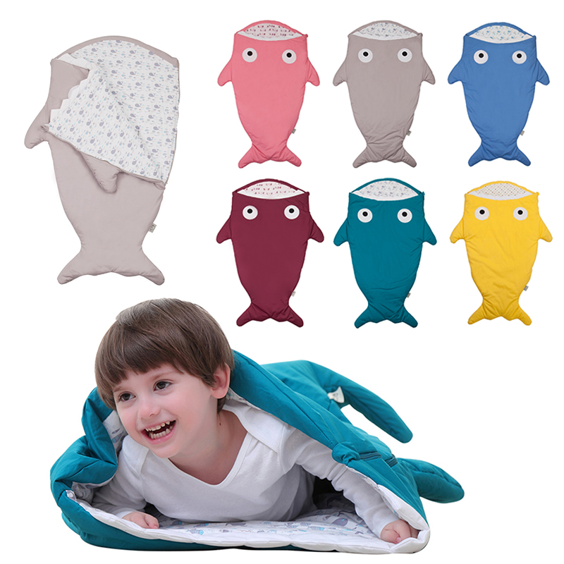 New 1 Pc Shark Newborn Sleeping Bag Baby Carriage Bed Blanket Wrap Bedding Cute Shark Shape Quilt Cotton Swaddle 6 Color 2017 shark sleeping bag sleeping bag winter newborn prams bed swaddle blanket wrap bedding cute baby sleeping bag baby