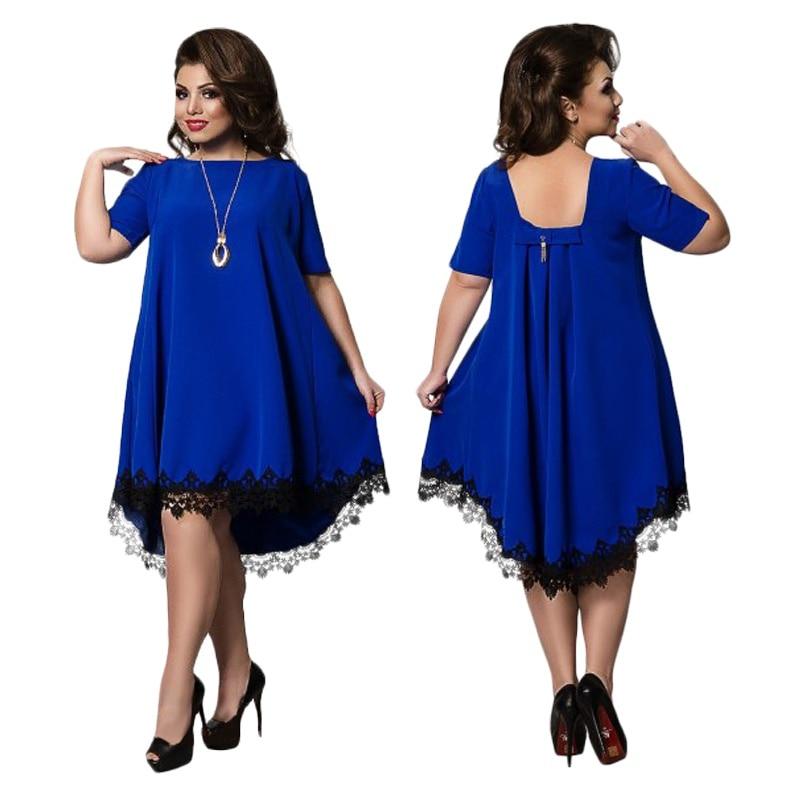 Novo vestido de verão moda feminina manga curta o pescoço magro elegante vestidos de renda festa à noite plus size na altura do joelho vestido