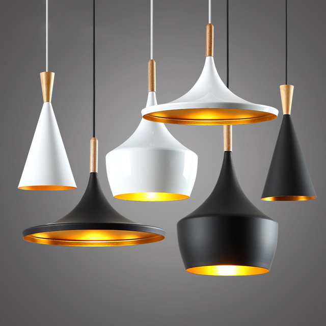 Modern Wood Design England Beat Musical Instrument Hanging Pendant Lamp Vintage Light Restaurant Bar Living Room