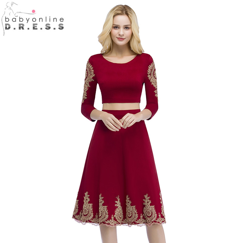 Babyonline Two Piece Burgundy Lace Short Evening Dress 2018 Robe de Soiree Courte Evening Gowns Vestido de Festa