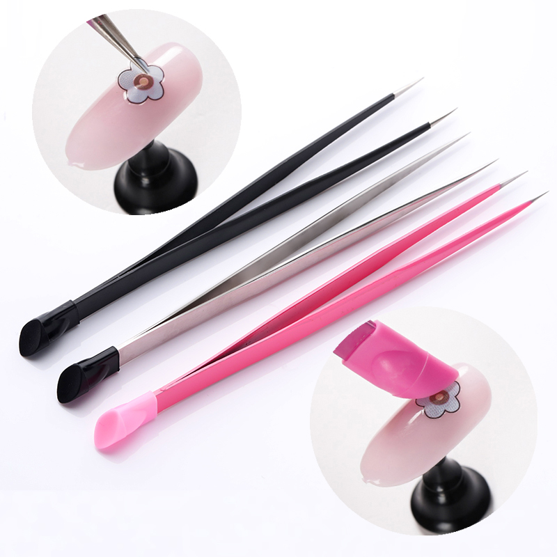 1pc 2 Heads Straight Nail Tweezers With Silicone Pressing Head For 3D Sticker Rhinestones Water Sticker Picker Metal Nails Tools
